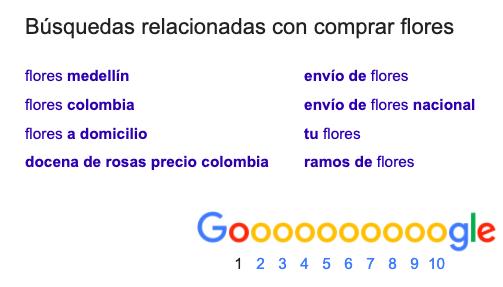 Ejemplo busquedas relacionadas Google